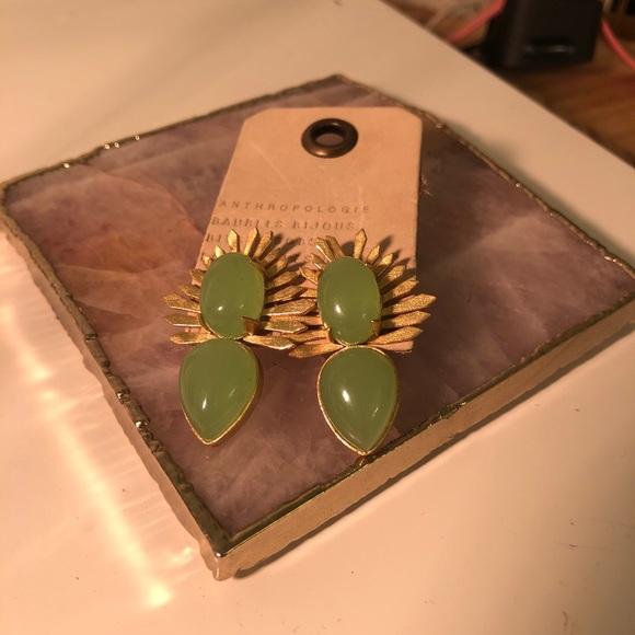 Anthropologie Jade Gem Earrings